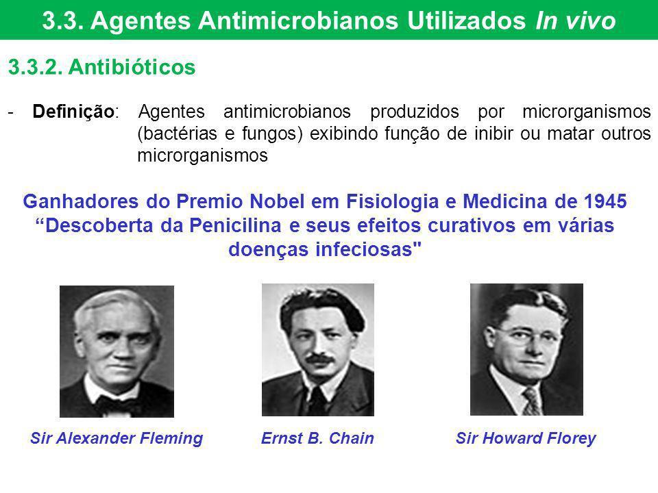 3.3. Agentes Antimicrobianos Utilizados In vivo 3.3.2. Antibióticos - Definição: Agentes antimicrobianos produzidos por microrganismos (bactérias e fu