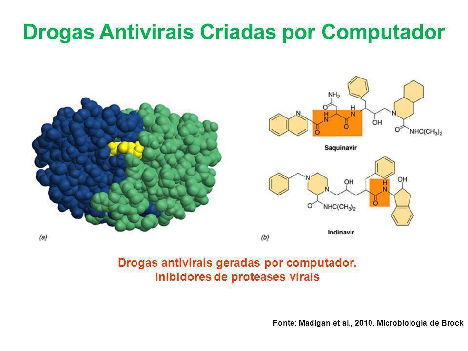 Drogas Antivirais Criadas por Computador Drogas antivirais geradas por computador. Inibidores de proteases virais Fonte: Madigan et al., 2010. Microbi