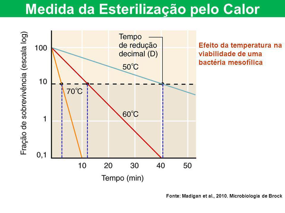 Efeito da temperatura na viabilidade de uma bactéria mesofílica Fonte: Madigan et al., 2010. Microbiologia de Brock Medida da Esterilização pelo Calor