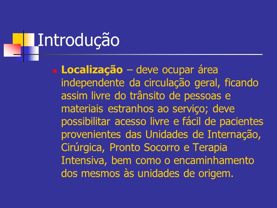 Introdução Localização – deve ocupar área independente da circulação geral, ficando assim livre do trânsito de pessoas e materiais estranhos ao serviç