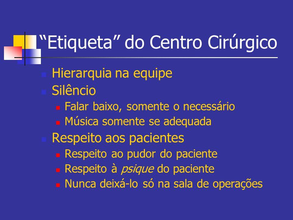 Etiqueta do Centro Cirúrgico Hierarquia na equipe Silêncio Falar baixo, somente o necessário Música somente se adequada Respeito aos pacientes Respeit