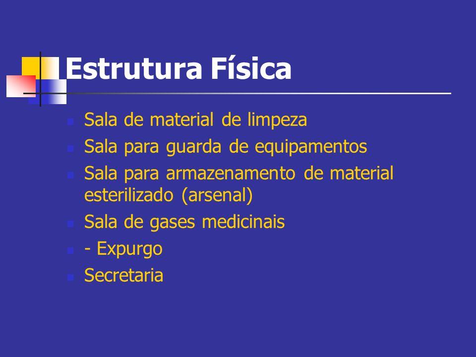 Estrutura Física Sala de material de limpeza Sala para guarda de equipamentos Sala para armazenamento de material esterilizado (arsenal) Sala de gases