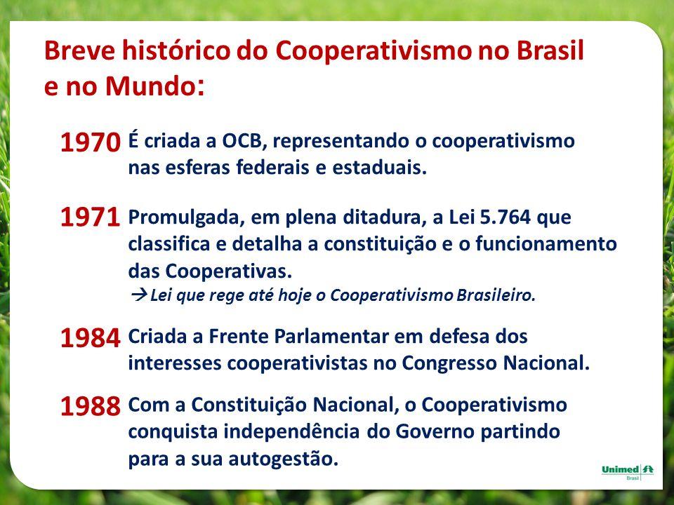 É criada a OCB, representando o cooperativismo nas esferas federais e estaduais. 1970 Promulgada, em plena ditadura, a Lei 5.764 que classifica e deta