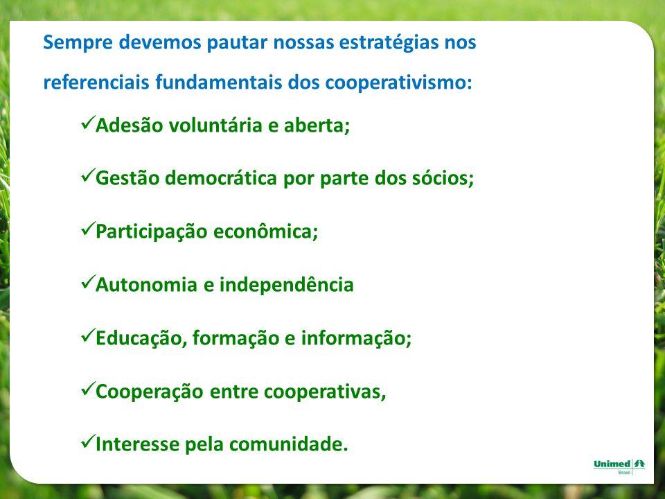 Sempre devemos pautar nossas estratégias nos referenciais fundamentais dos cooperativismo: Adesão voluntária e aberta; Gestão democrática por parte do