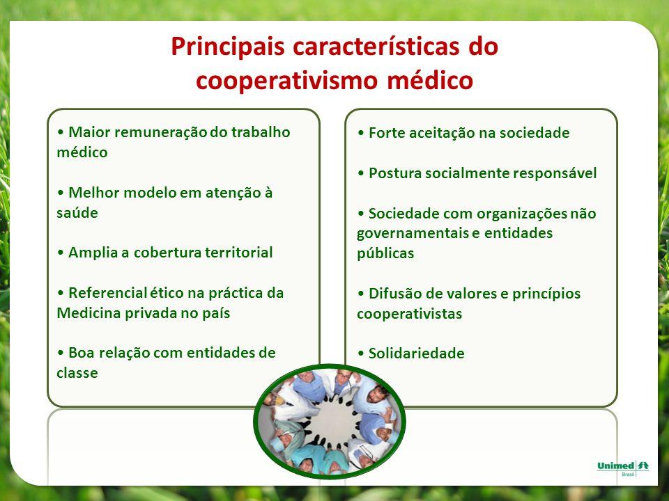 Principais características do cooperativismo médico Maior remuneração do trabalho médico Melhor modelo em atenção à saúde Amplia a cobertura territori