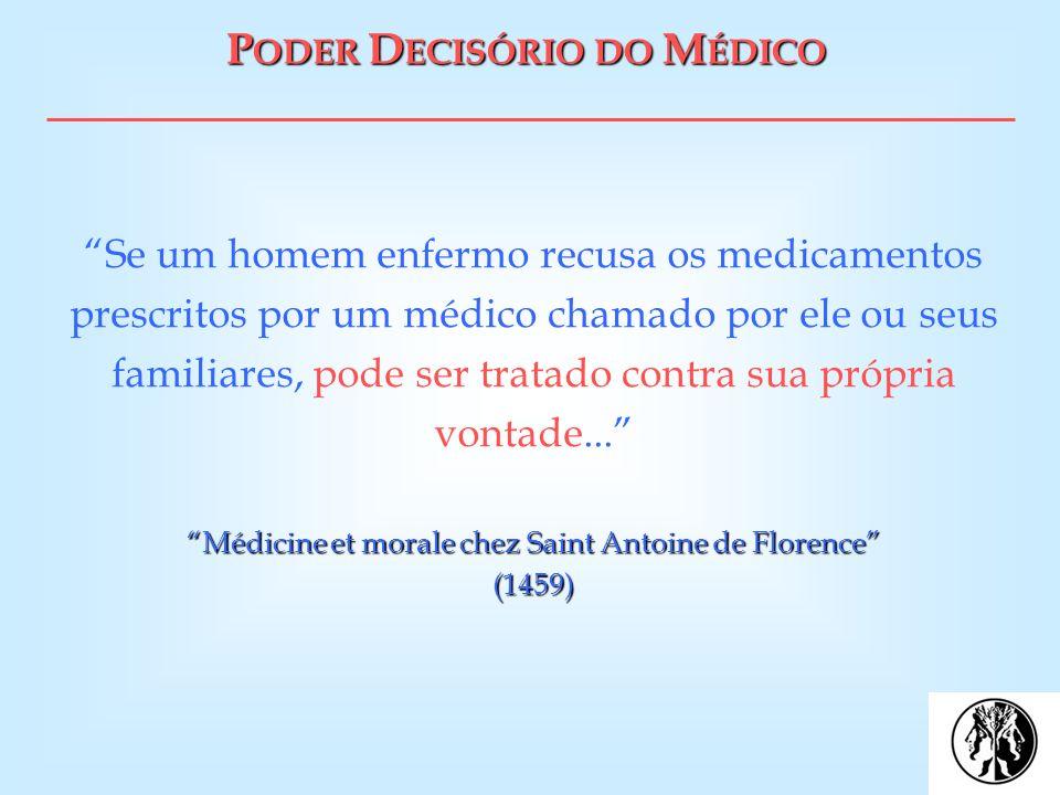 P ODER D ECISÓRIO DO M ÉDICO Médicine et morale chez Saint Antoine de Florence (1459) Se um homem enfermo recusa os medicamentos prescritos por um méd