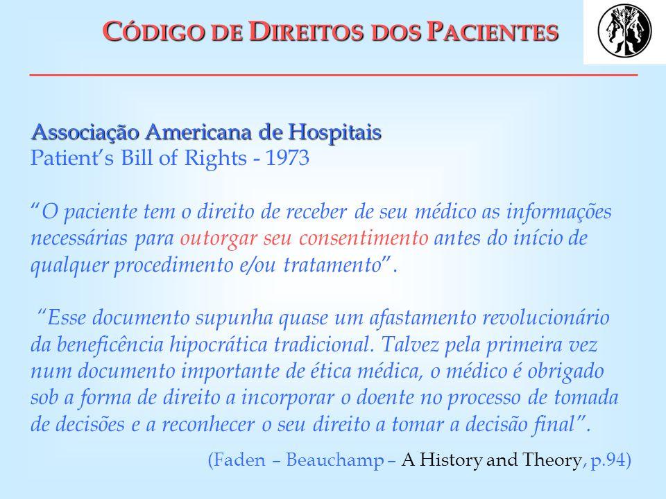 C ÓDIGO DE D IREITOS DOS P ACIENTES Associação Americana de Hospitais Associação Americana de Hospitais Patients Bill of Rights - 1973 O paciente tem