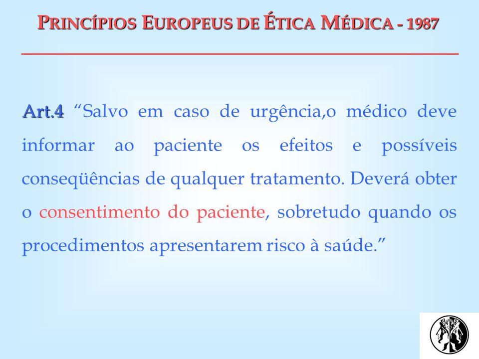 P RINCÍPIOS E UROPEUS DE É TICA M ÉDICA - 1987 Art.4 Art.4 Salvo em caso de urgência,o médico deve informar ao paciente os efeitos e possíveis conseqü