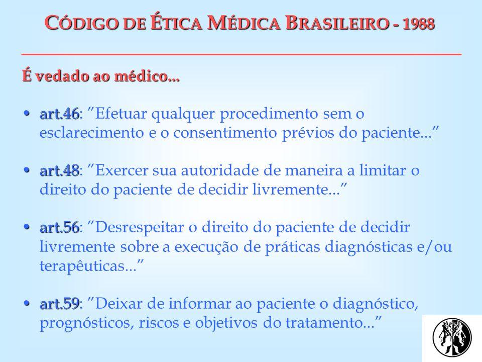 C ÓDIGO DE É TICA M ÉDICA B RASILEIRO - 1988 É vedado ao médico... art.46art.46: Efetuar qualquer procedimento sem o esclarecimento e o consentimento
