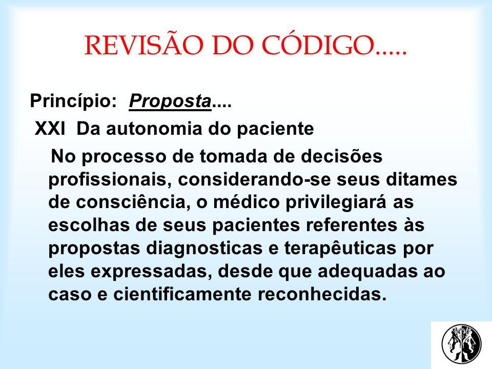 REVISÃO DO CÓDIGO..... Princípio: Proposta.... XXI Da autonomia do paciente No processo de tomada de decisões profissionais, considerando-se seus dita