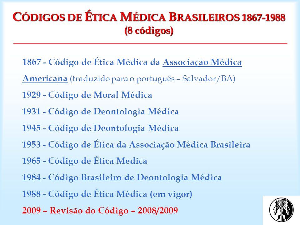 C ÓDIGOS DE É TICA M ÉDICA B RASILEIROS 1867-1988 (8 códigos) 1867 - Código de Ética Médica da Associação Médica Americana (traduzido para o português