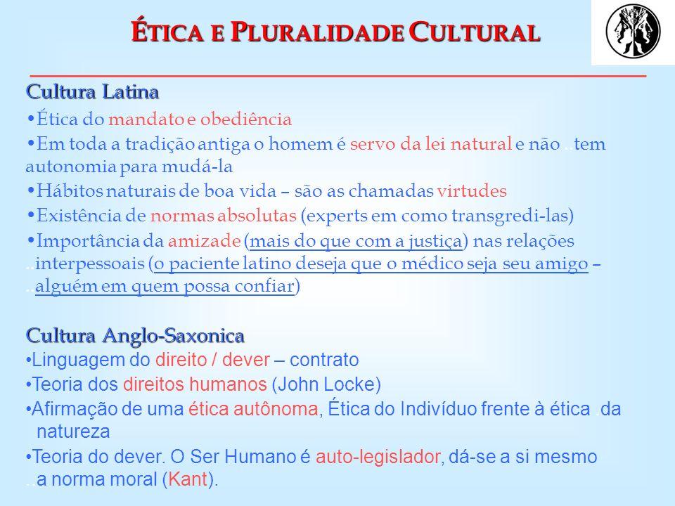 É TICA E P LURALIDADE C ULTURAL Cultura Latina Ética do mandato e obediência Em toda a tradição antiga o homem é servo da lei natural e não..tem auton