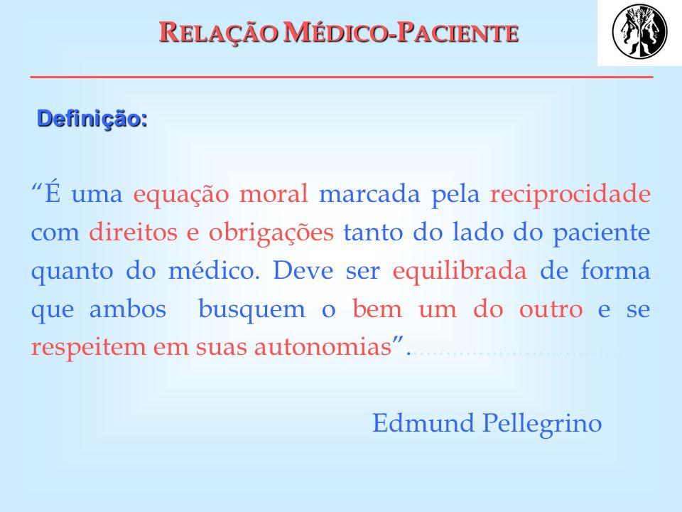 R ELAÇÃO M ÉDICO- P ACIENTE É uma equação moral marcada pela reciprocidade com direitos e obrigações tanto do lado do paciente quanto do médico. Deve