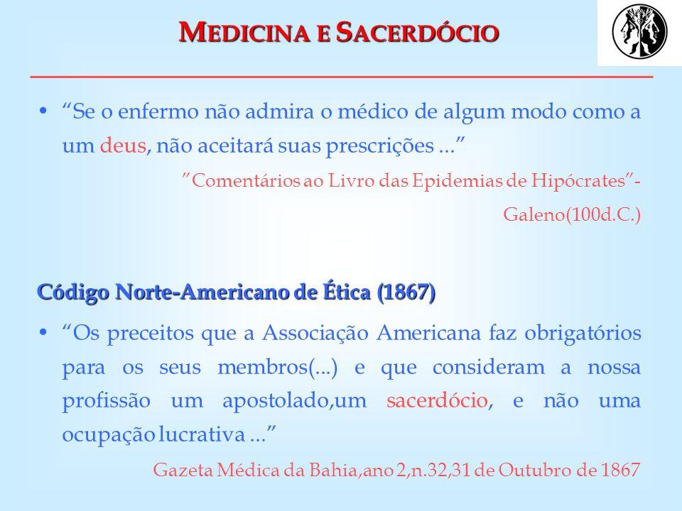 M EDICINA E S ACERDÓCIO Se o enfermo não admira o médico de algum modo como a um deus, não aceitará suas prescrições... Comentários ao Livro das Epide