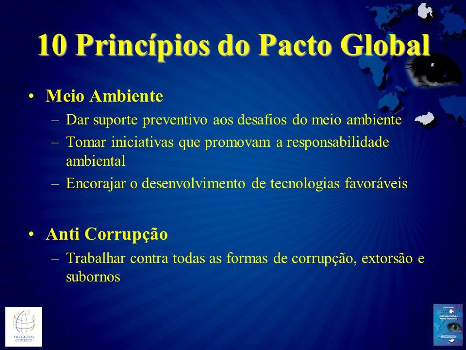 10 Princípios do Pacto Global Meio Ambiente –Dar suporte preventivo aos desafios do meio ambiente –Tomar iniciativas que promovam a responsabilidade a