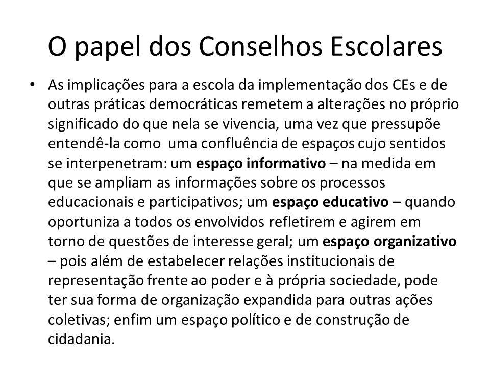 O papel dos Conselhos Escolares As implicações para a escola da implementação dos CEs e de outras práticas democráticas remetem a alterações no própri