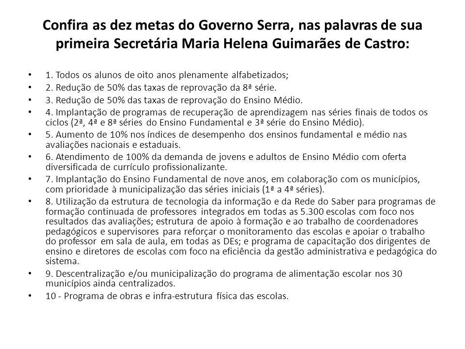 Confira as dez metas do Governo Serra, nas palavras de sua primeira Secretária Maria Helena Guimarães de Castro: 1. Todos os alunos de oito anos plena
