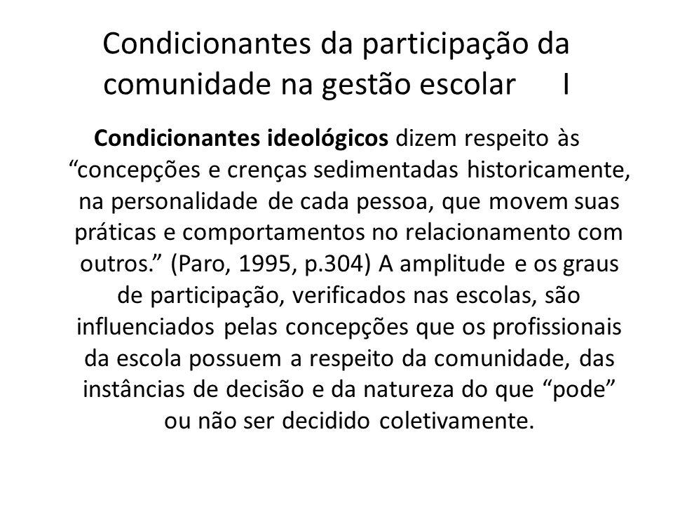 Condicionantes da participação da comunidade na gestão escolar II Condicionantes institucionais entenda-se o conjunto de fatores vinculados à existência formal da escola que influem na qualidade e no tipo de gestão que nela será vivenciada.