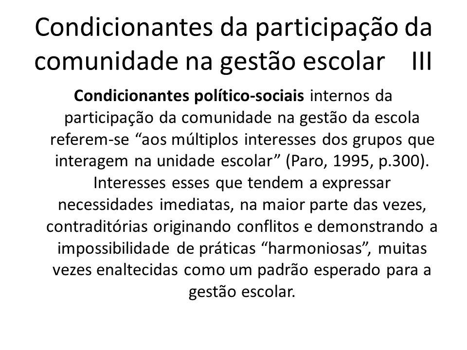 Condicionantes da participação da comunidade na gestão escolar IV Condicionantes materiais dizem respeito às condições objetivas em que se desenvolvem as práticas e relações no interior da escola.