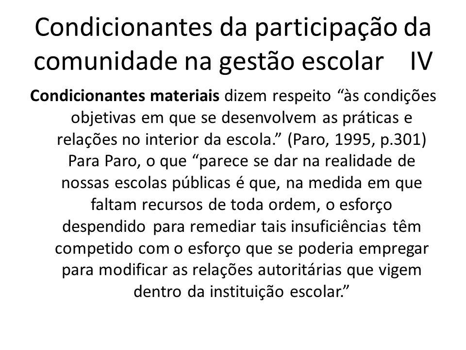 Condicionantes da participação da comunidade na gestão escolar IV Condicionantes materiais dizem respeito às condições objetivas em que se desenvolvem