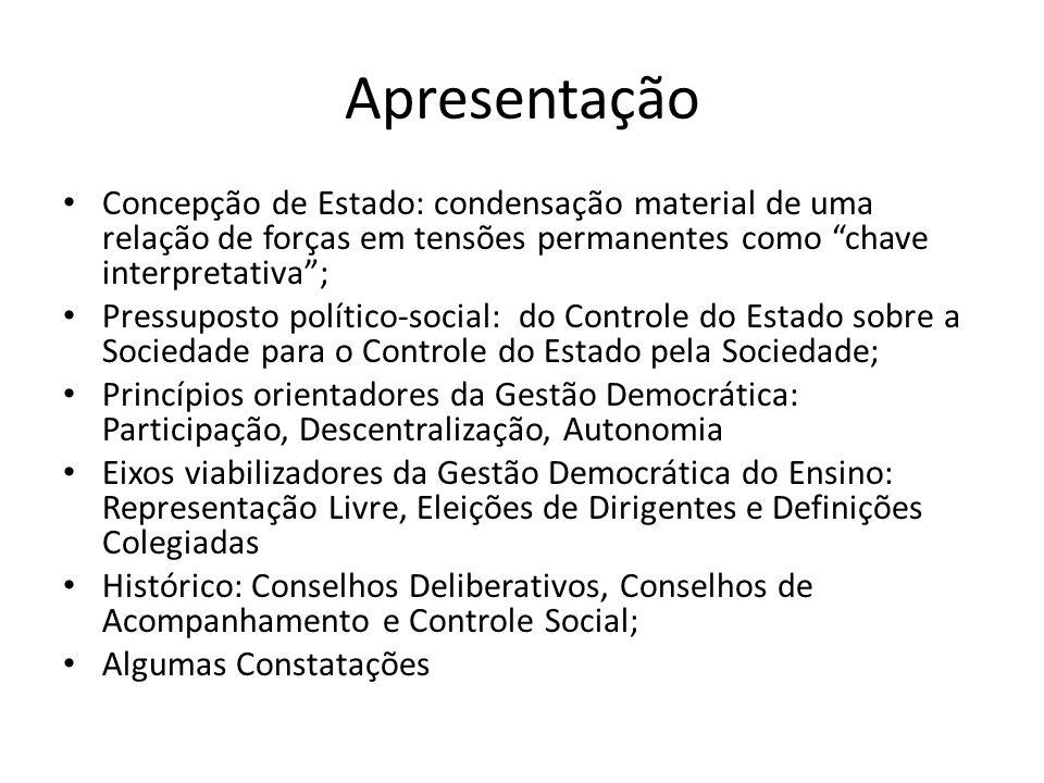 Apresentação Concepção de Estado: condensação material de uma relação de forças em tensões permanentes como chave interpretativa; Pressuposto político