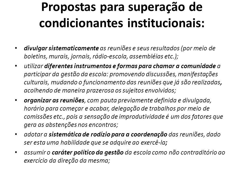 Propostas para superação de condicionantes institucionais: divulgar sistematicamente as reuniões e seus resultados (por meio de boletins, murais, jorn