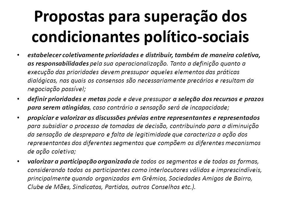 Propostas para superação dos condicionantes político-sociais estabelecer coletivamente prioridades e distribuir, também de maneira coletiva, as respon