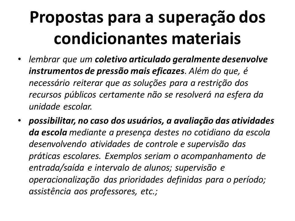 Propostas para a superação dos condicionantes materiais lembrar que um coletivo articulado geralmente desenvolve instrumentos de pressão mais eficazes