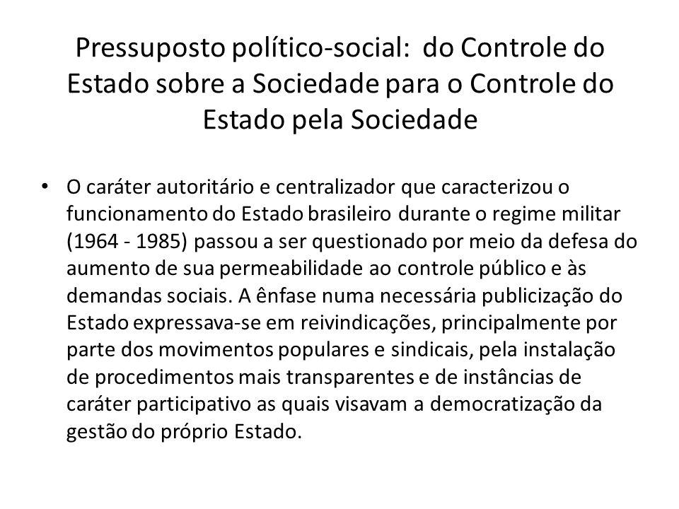 Pressuposto político-social: do Controle do Estado sobre a Sociedade para o Controle do Estado pela Sociedade O caráter autoritário e centralizador qu
