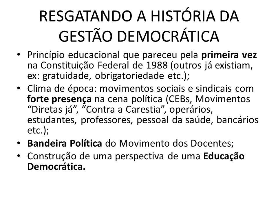 RESGATANDO A HISTÓRIA DA GESTÃO DEMOCRÁTICA Princípio educacional que pareceu pela primeira vez na Constituição Federal de 1988 (outros já existiam, e