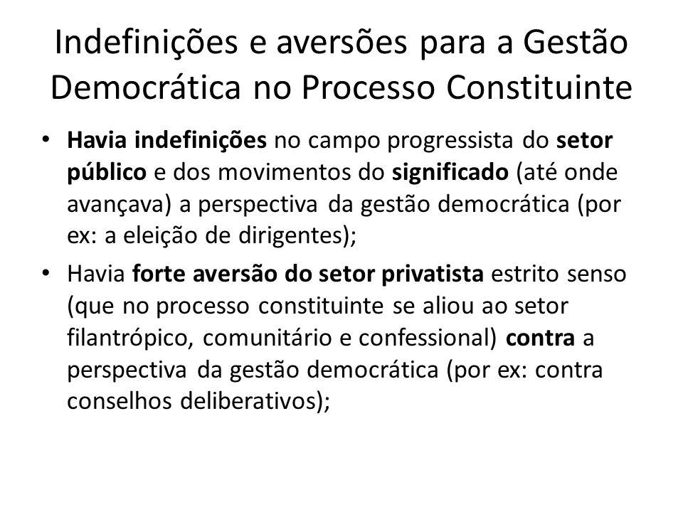 Indefinições e aversões para a Gestão Democrática no Processo Constituinte Havia indefinições no campo progressista do setor público e dos movimentos