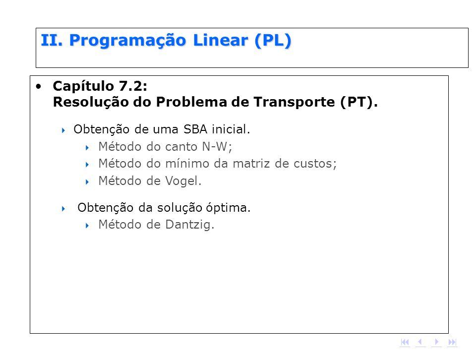 II. Programação Linear (PL) Capítulo 7.2: Resolução do Problema de Transporte (PT). Obtenção de uma SBA inicial. Método do canto N-W; Método do mínimo