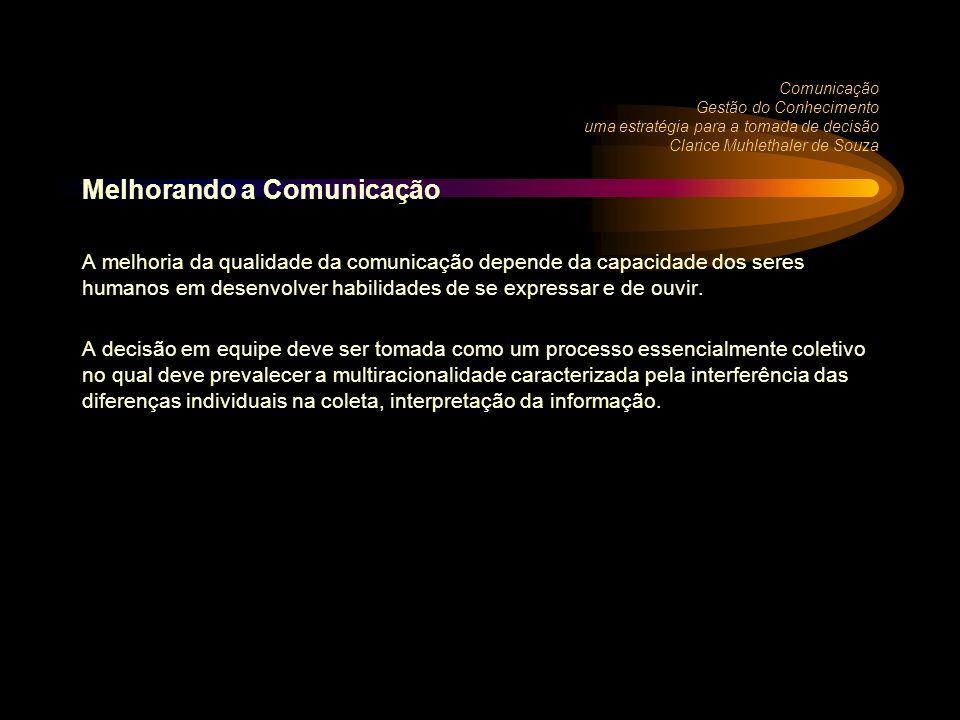 Comunicação Gestão do Conhecimento uma estratégia para a tomada de decisão Clarice Muhlethaler de Souza Melhorando a Comunicação A melhoria da qualidade da comunicação depende da capacidade dos seres humanos em desenvolver habilidades de se expressar e de ouvir.