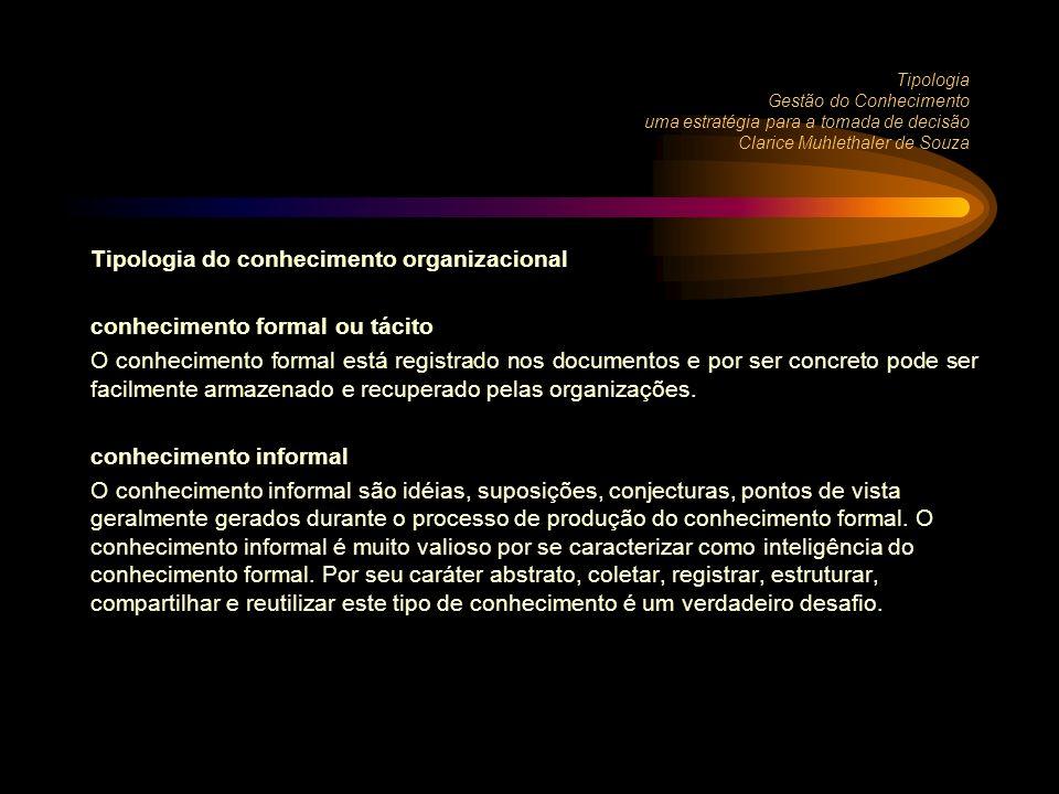 Tipologia do conhecimento organizacional conhecimento formal ou tácito O conhecimento formal está registrado nos documentos e por ser concreto pode ser facilmente armazenado e recuperado pelas organizações.