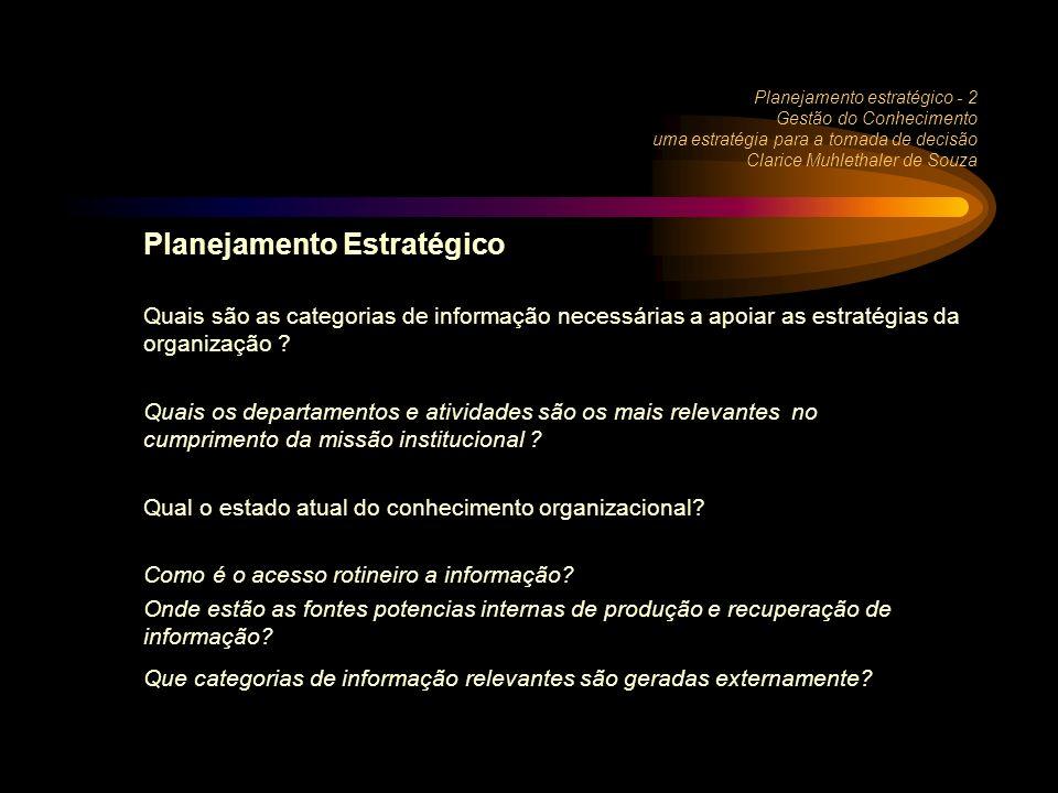 Planejamento estratégico - 2 Gestão do Conhecimento uma estratégia para a tomada de decisão Clarice Muhlethaler de Souza Planejamento Estratégico Quais são as categorias de informação necessárias a apoiar as estratégias da organização .