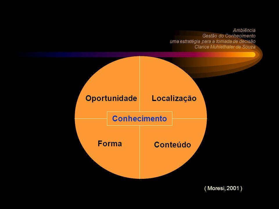 Conhecimento Ambiência Gestão do Conhecimento uma estratégia para a tomada de decisão Clarice Muhlethaler de Souza OportunidadeLocalização Forma Conteúdo Conhecimento ( Moresi, 2001 )