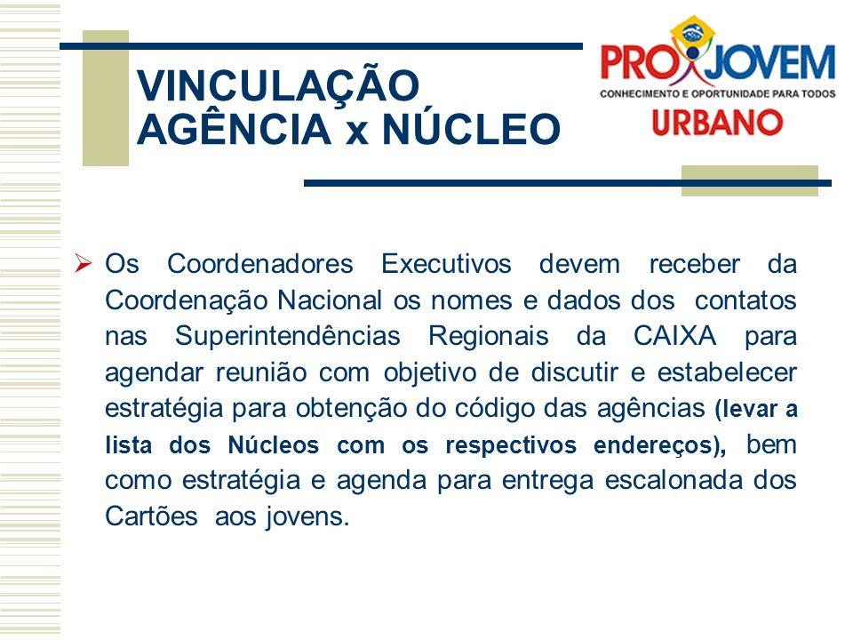 VINCULAÇÃO AGÊNCIA x NÚCLEO Os Coordenadores Executivos devem receber da Coordenação Nacional os nomes e dados dos contatos nas Superintendências Regi