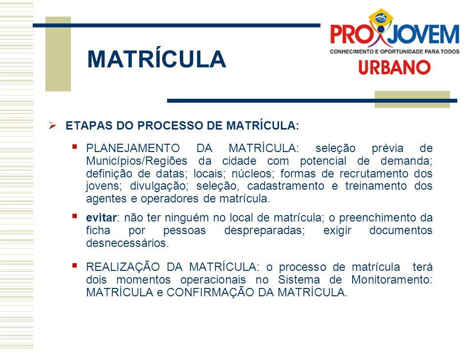 MATRÍCULA ETAPAS DO PROCESSO DE MATRÍCULA: PLANEJAMENTO DA MATRÍCULA: seleção prévia de Municípios/Regiões da cidade com potencial de demanda; definiç
