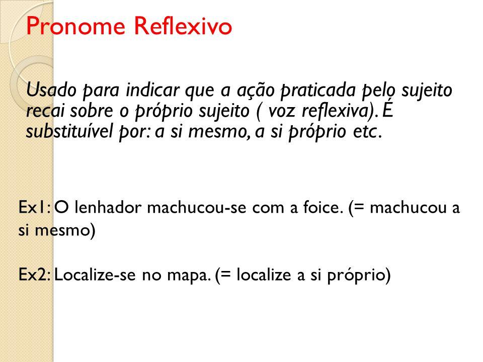 Pronome Reflexivo Usado para indicar que a ação praticada pelo sujeito recai sobre o próprio sujeito ( voz reflexiva). É substituível por: a si mesmo,