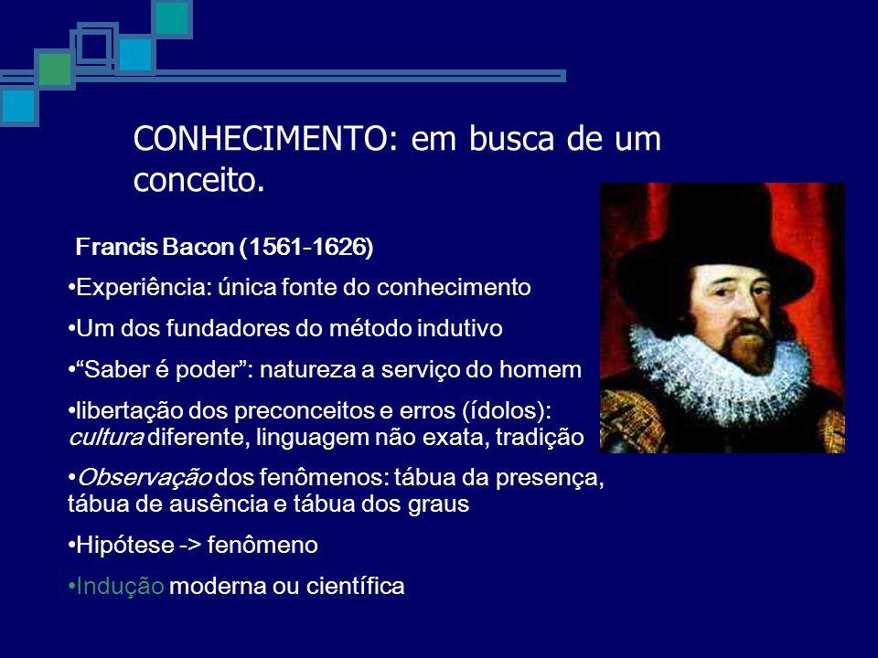 CONHECIMENTO: em busca de um conceito. Francis Bacon (1561-1626) Experiência: única fonte do conhecimento Um dos fundadores do método indutivo Saber é