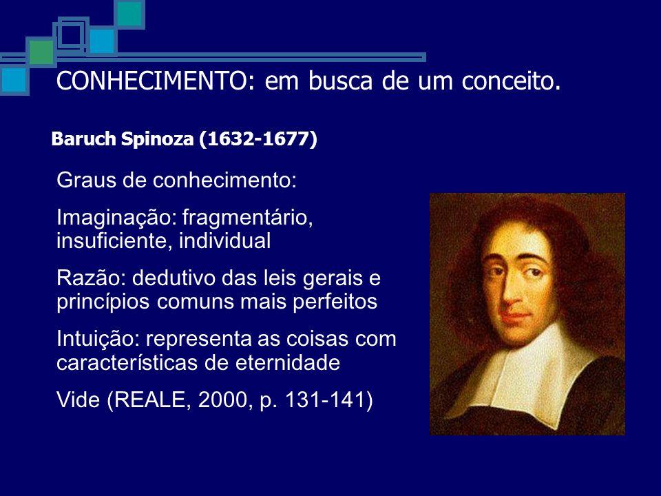 Baruch Spinoza (1632-1677) Graus de conhecimento: Imaginação: fragmentário, insuficiente, individual Razão: dedutivo das leis gerais e princípios comuns mais perfeitos Intuição: representa as coisas com características de eternidade Vide (REALE, 2000, p.