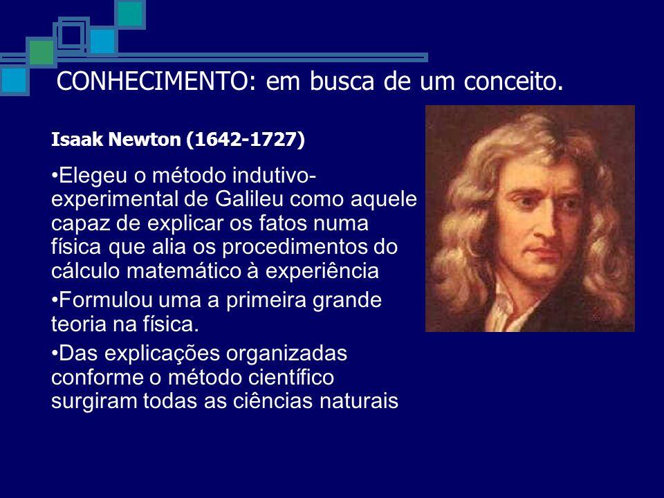 Isaak Newton (1642-1727) Elegeu o método indutivo- experimental de Galileu como aquele capaz de explicar os fatos numa física que alia os procedimentos do cálculo matemático à experiência Formulou uma a primeira grande teoria na física.