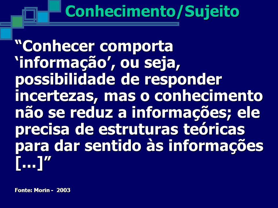 Conhecer comporta informação, ou seja, possibilidade de responder incertezas, mas o conhecimento não se reduz a informações; ele precisa de estruturas