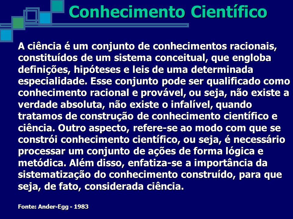 A ciência é um conjunto de conhecimentos racionais, constituídos de um sistema conceitual, que engloba definições, hipóteses e leis de uma determinada especialidade.
