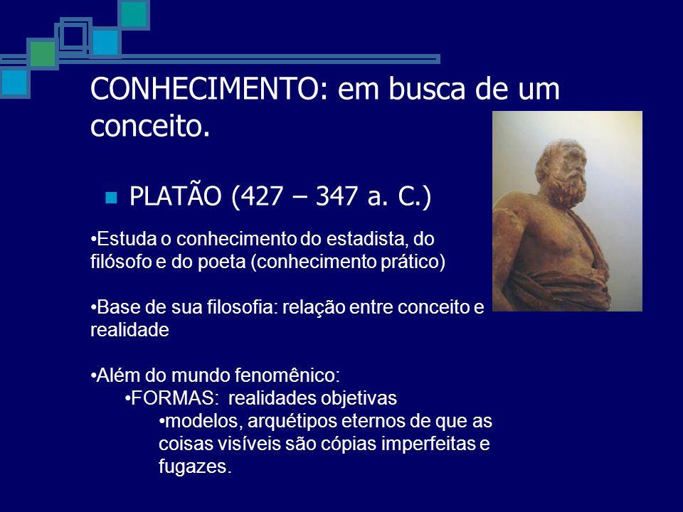 CONHECIMENTO: em busca de um conceito. PLATÃO (427 – 347 a. C.) Estuda o conhecimento do estadista, do filósofo e do poeta (conhecimento prático) Base