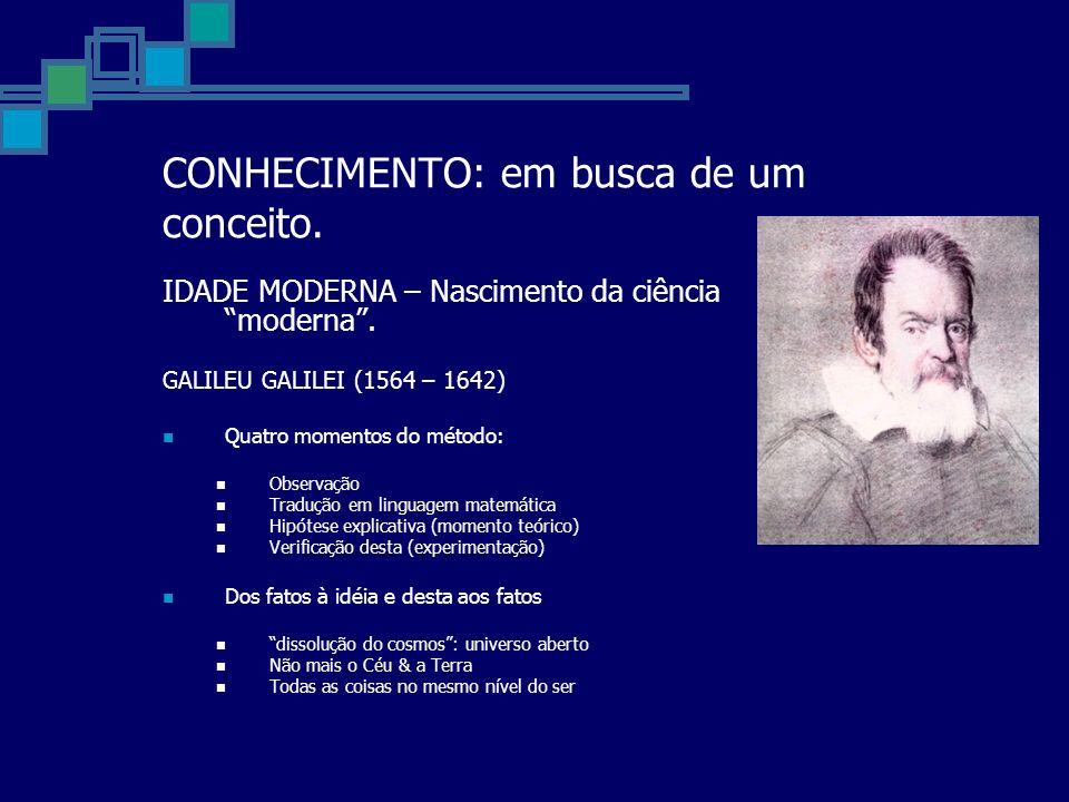 CONHECIMENTO: em busca de um conceito. IDADE MODERNA – Nascimento da ciência moderna. GALILEU GALILEI (1564 – 1642) Quatro momentos do método: Observa