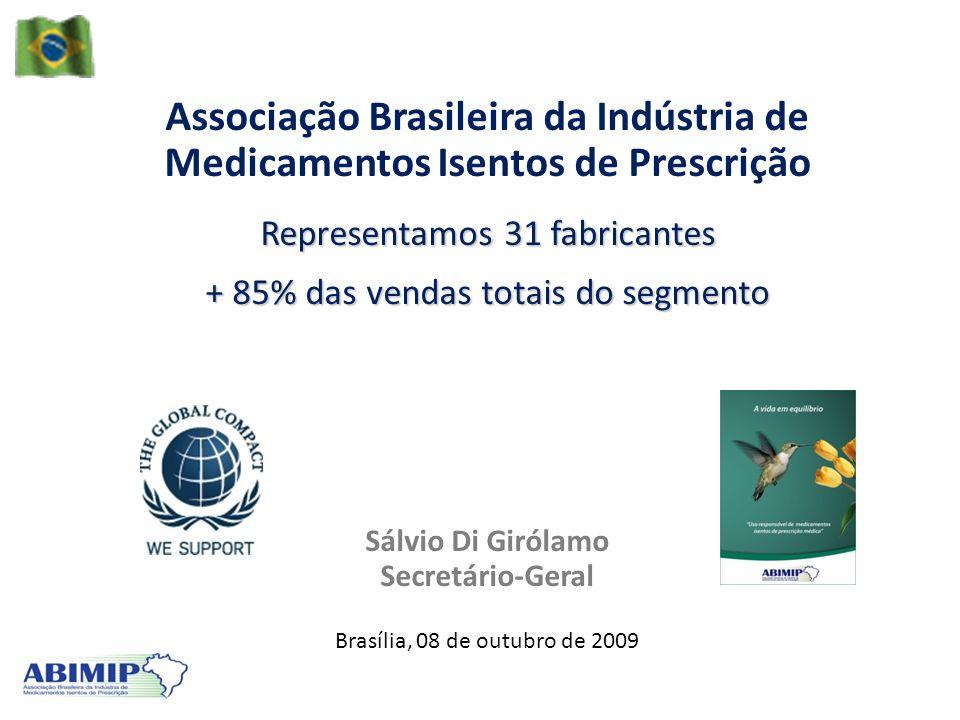 Associação Brasileira da Indústria de Medicamentos Isentos de Prescrição Representamos 31 fabricantes + 85% das vendas totais do segmento Sálvio Di Gi
