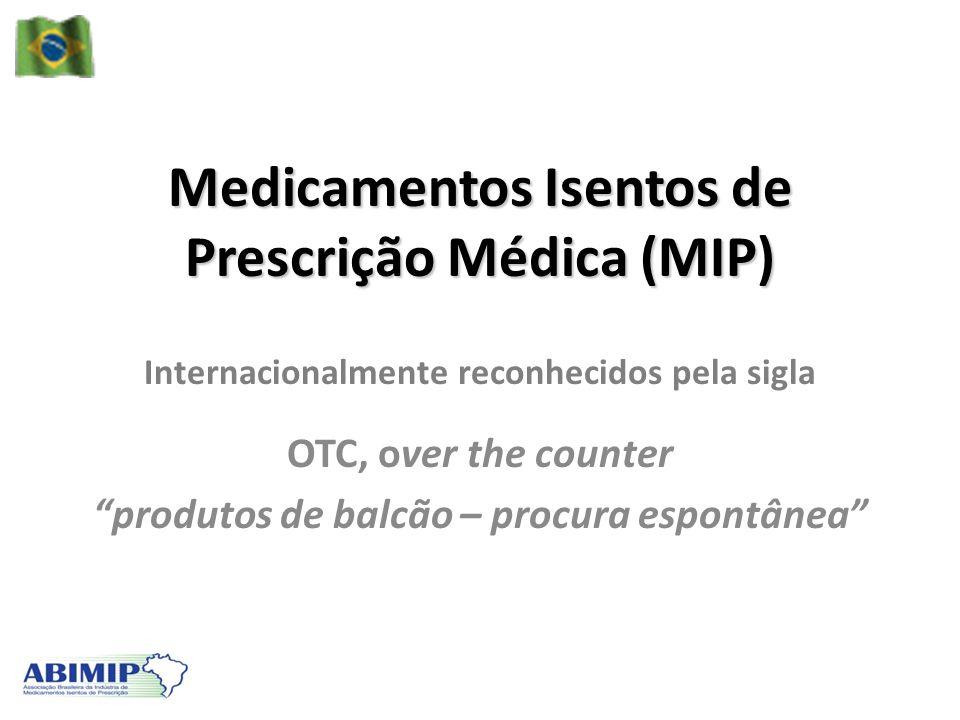 Medicamentos Isentos de Prescrição Médica (MIP) Internacionalmente reconhecidos pela sigla OTC, over the counter produtos de balcão – procura espontân