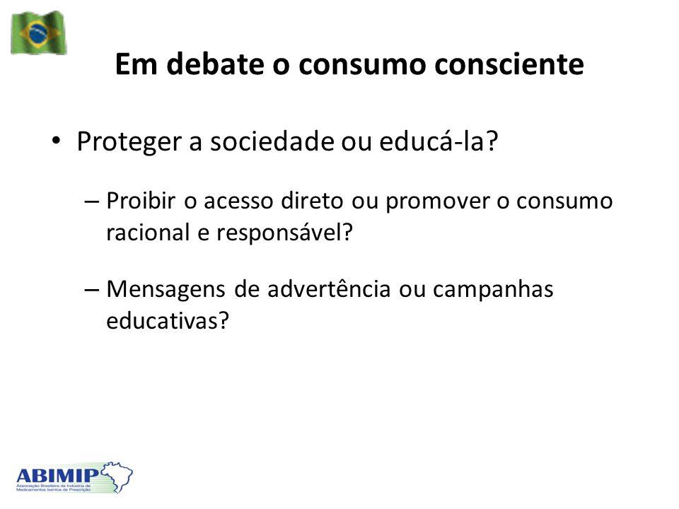 Em debate o consumo consciente Proteger a sociedade ou educá-la? – Proibir o acesso direto ou promover o consumo racional e responsável? – Mensagens d