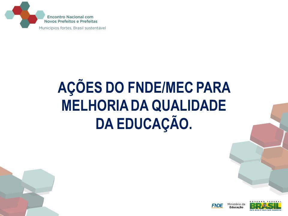 AÇÕES DO FNDE/MEC PARA MELHORIA DA QUALIDADE DA EDUCAÇÃO.